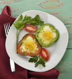 Fried Eggs With Vegetables Stockbilder