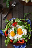 Fried Eggs With Fresh Vegetables Royalty Free Stock Photo
