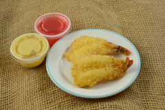 Fried fantail shrimp Royalty Free Stock Images