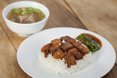 Fried Ferment pork and Crispy Pork with steam rice Royalty Free Stock Photography