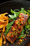 Fried fillet of red fish salmon with roasted vegetables, Royalty Free Stock Images