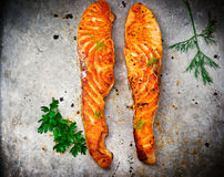 Fried fillet of a salmon Royalty Free Stock Photos