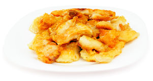 Fried filleted fish. On porcelain plate over white background Stock Photography