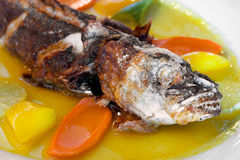 Fried fish. On the dish Stock Photography