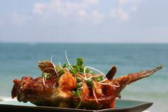 Fried fish. Sweet sour fried fish at a beach resort Royalty Free Stock Photos