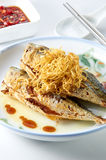Fried Fish. Oriental fried fish with clean setup Stock Photos