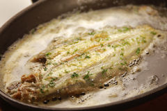 Fried fish. In the iron pan Stock Photos