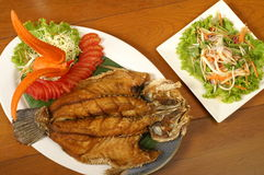 Fried fish. With Thai dressing salad Stock Image