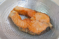 Fried fish on the aluminum sieve Stock Photography