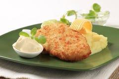 Free Fried Fish And Mashed Potato Stock Image - 27990121
