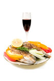 Fried Fish And Wine. Royalty Free Stock Images