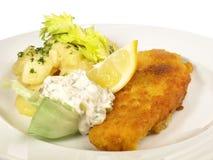 Fried Fish avec de la salade de pomme de terre photo stock