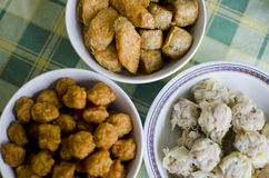 Fried fish ball and dim sum Stock Photography