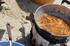Fried fish on the beach Royalty Free Stock Photos