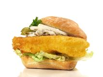 Fried Fish Bun no fundo branco fotos de stock royalty free