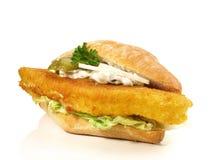 Fried Fish Bun no fundo branco imagem de stock royalty free