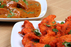 Fried fish and butter chicken Royalty Free Stock Images