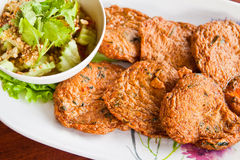 Fried fish cake. Thai style food stock photo