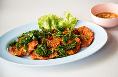 Fried fish cake, thai street food `Tod man pla` . image for advertisement and menu. List Royalty Free Stock Photos