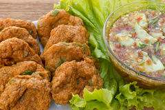 Fried Fish Cakes Thai Food. Fried fish cakes with sweet chili sauce. Thai Appetisers. Favorite food of thailand Stock Images