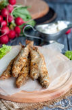 Fried fish capelin Stock Images