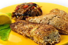 The fried fish carp with sesame seeds Royalty Free Stock Photo