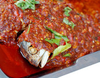 Fried fish and chili sauce. Royalty Free Stock Photography