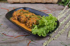 Fried fish with chilli sauce Stock Images