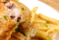 Fried fish and chips Stock Photo