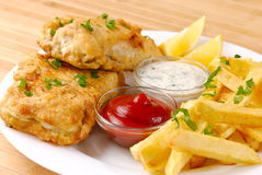 Fried fish and chips Royalty Free Stock Photography