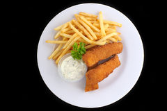 Fried fish and chips Stock Photos