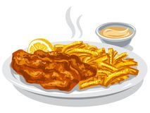 Fried fish and chips. Illustration of fried fish and chips with lemon and sauce Stock Image