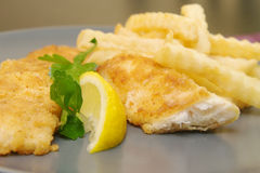 Fried fish and chips on the plate for dinner Royalty Free Stock Image