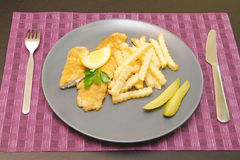 Fried fish and chips on the plate for dinner Stock Images
