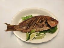 Fried Fish con la testa sul piatto ovale bianco dei limoni della lattuga fotografia stock libera da diritti