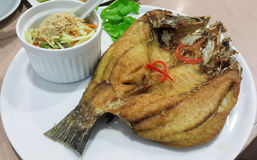 Fried fish. Deep fried fish with salad Stock Photography