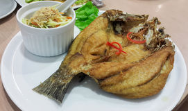 Fried fish. Deep fried fish with salad Royalty Free Stock Images
