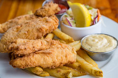 Fried Fish Dinner with Fries. Tartar sauce and lemon wedge Stock Photography