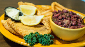 Fried Fish Dinner with Red Beans and Rice Royalty Free Stock Image