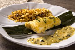 Fried fish with farofa and passion fruit sauce - Traditional amazonian dish - Filhote caboclo. Fried fish with farofa and passion fruit sauce - Traditional Stock Photos