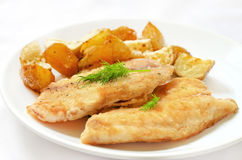 Fried fish fillet with baked potatoes Royalty Free Stock Photo