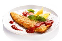 Fried fish fillet Stock Photos