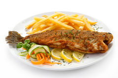 Fried fish fillet with french fries Stock Photography