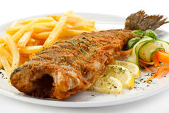 Fried fish fillet with french fries Royalty Free Stock Photos