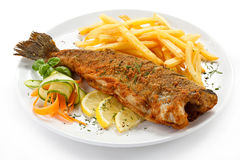 Fried fish fillet with french fries Royalty Free Stock Image