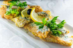 Fried fish fillet with lemon and parsley. Stock Image