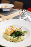 Fried fish fillet with potato mash Royalty Free Stock Photo