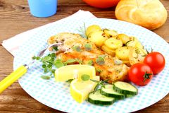Fried fish fillet with rosemary potatoes and vegetables Stock Images