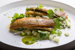 White fish grilled and served with vegetables Stock Image