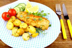 Fried fish fillet with vegetables and rosemary potatoes Royalty Free Stock Photo